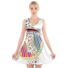 Colorful Fish Animals Rainbow V-Neck Sleeveless Skater Dress