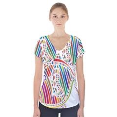 Colorful Fish Animals Rainbow Short Sleeve Front Detail Top