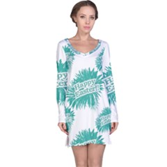 Happy Easter Theme Graphic Print Long Sleeve Nightdress