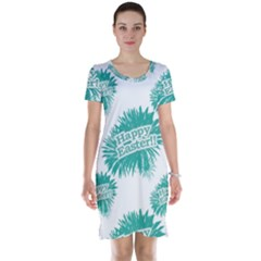 Happy Easter Theme Graphic Print Short Sleeve Nightdress