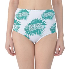 Happy Easter Theme Graphic Print High-Waist Bikini Bottoms