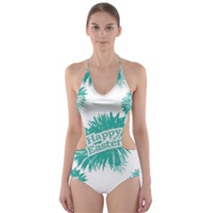 Happy Easter Theme Graphic Print Cut-Out One Piece Swimsuit