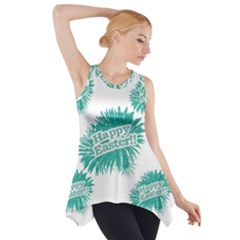 Happy Easter Theme Graphic Print Side Drop Tank Tunic