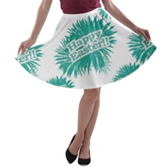 Happy Easter Theme Graphic Print A-line Skater Skirt