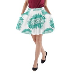 Happy Easter Theme Graphic Print A-Line Pocket Skirt