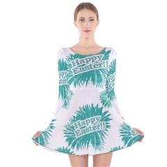 Happy Easter Theme Graphic Print Long Sleeve Velvet Skater Dress
