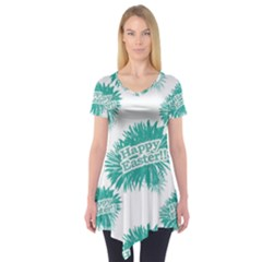 Happy Easter Theme Graphic Print Short Sleeve Tunic