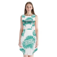Happy Easter Theme Graphic Print Sleeveless Chiffon Dress