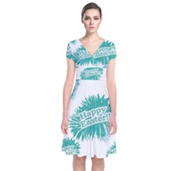 Happy Easter Theme Graphic Print Short Sleeve Front Wrap Dress
