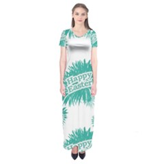 Happy Easter Theme Graphic Print Short Sleeve Maxi Dress