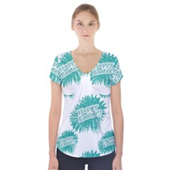 Happy Easter Theme Graphic Print Short Sleeve Front Detail Top