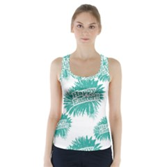Happy Easter Theme Graphic Print Racer Back Sports Top