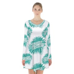 Happy Easter Theme Graphic Print Long Sleeve Velvet V-neck Dress