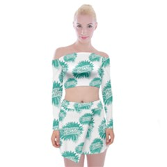 Happy Easter Theme Graphic Print Off Shoulder Top with Skirt Set