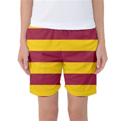 Oswald s Stripes Red Yellow Women s Basketball Shorts