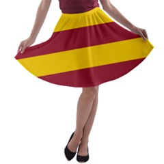 Oswald s Stripes Red Yellow A Line Skater Skirt