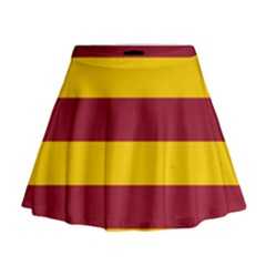 Oswald s Stripes Red Yellow Mini Flare Skirt
