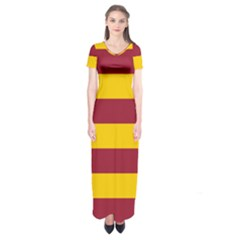 Oswald s Stripes Red Yellow Short Sleeve Maxi Dress