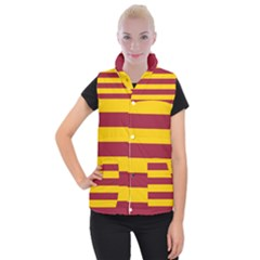 Oswald s Stripes Red Yellow Women s Button Up Puffer Vest