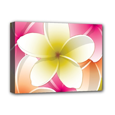 Frangipani Flower Floral White Pink Yellow Deluxe Canvas 16  x 12