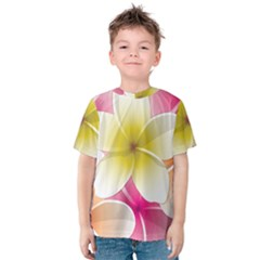 Frangipani Flower Floral White Pink Yellow Kids  Cotton Tee