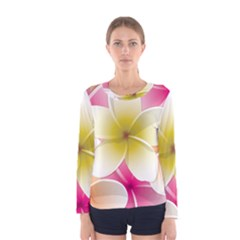 Frangipani Flower Floral White Pink Yellow Women s Long Sleeve Tee