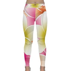 Frangipani Flower Floral White Pink Yellow Classic Yoga Leggings