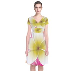Frangipani Flower Floral White Pink Yellow Short Sleeve Front Wrap Dress