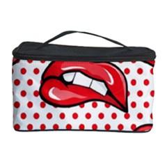 Lipstick Lip Red Polka Dot Circle Cosmetic Storage Case