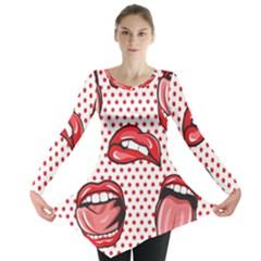 Lipstick Lip Red Polka Dot Circle Long Sleeve Tunic