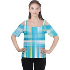Lines Blue Stripes Women s Cutout Shoulder Tee