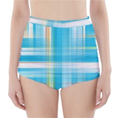 Lines Blue Stripes High-Waisted Bikini Bottoms
