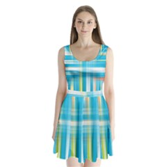 Lines Blue Stripes Split Back Mini Dress