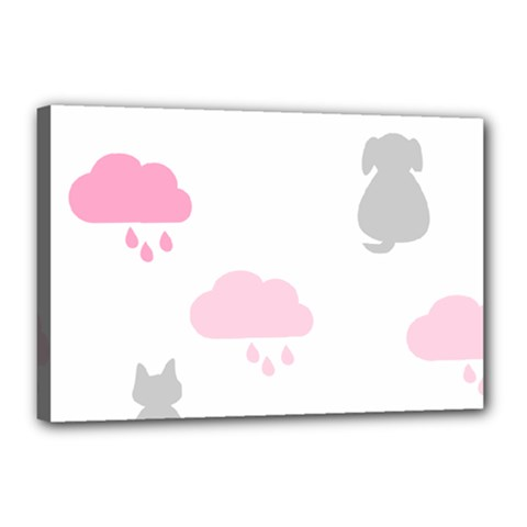 Raining Cats Dogs White Pink Cloud Rain Canvas 18  x 12