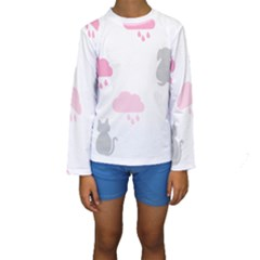Raining Cats Dogs White Pink Cloud Rain Kids  Long Sleeve Swimwear