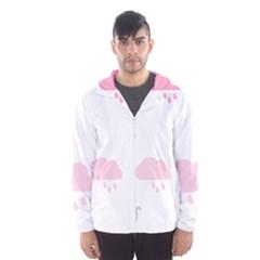 Raining Cats Dogs White Pink Cloud Rain Hooded Wind Breaker (Men)