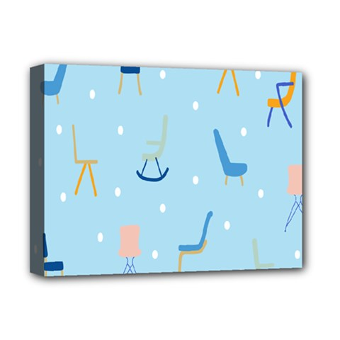 Seat Blue Polka Dot Deluxe Canvas 16  x 12