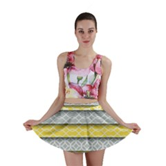 Paper Yellow Grey Digital Mini Skirt