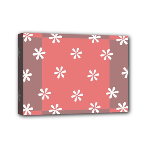 Seed Life Seamless Remix Flower Floral Red White Mini Canvas 7  x 5
