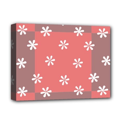 Seed Life Seamless Remix Flower Floral Red White Deluxe Canvas 16  x 12