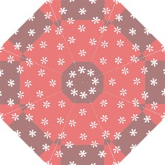 Seed Life Seamless Remix Flower Floral Red White Hook Handle Umbrellas (Small)