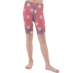 Seed Life Seamless Remix Flower Floral Red White Kids  Mid Length Swim Shorts