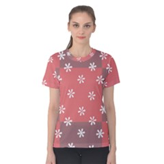 Seed Life Seamless Remix Flower Floral Red White Women s Cotton Tee