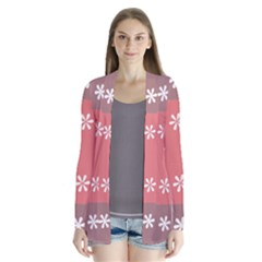 Seed Life Seamless Remix Flower Floral Red White Cardigans
