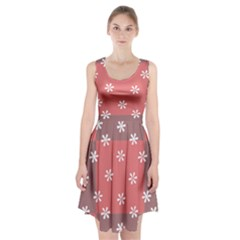 Seed Life Seamless Remix Flower Floral Red White Racerback Midi Dress
