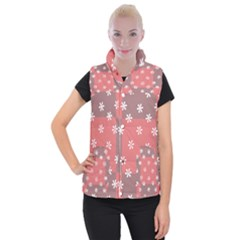 Seed Life Seamless Remix Flower Floral Red White Women s Button Up Puffer Vest