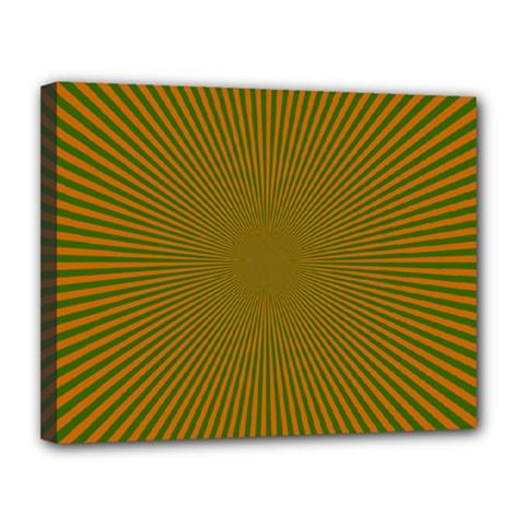 Stripy Starburst Effect Light Orange Green Line Canvas 14  x 11