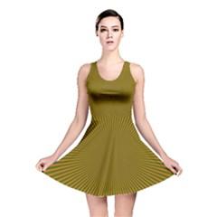 Stripy Starburst Effect Light Orange Green Line Reversible Skater Dress