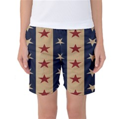Stars Stripes Grey Blue Women s Basketball Shorts