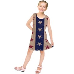 Stars Stripes Grey Blue Kids  Tunic Dress
